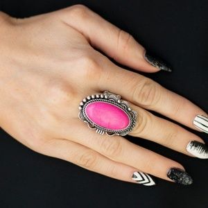 Open Range Pink and Silver Studded Ring